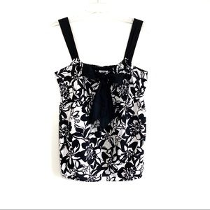 Loft floral print black white tank top bow front